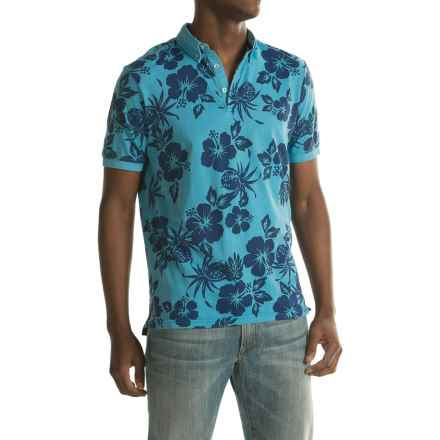 Report Collection Floral Polo Shirt - Short Sleeve (For Men) in Light Blue - Closeouts