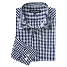 Report Collection Gingham Jaquard Sport Shirt - Long Sleeve (For Men) in Navy - Closeouts