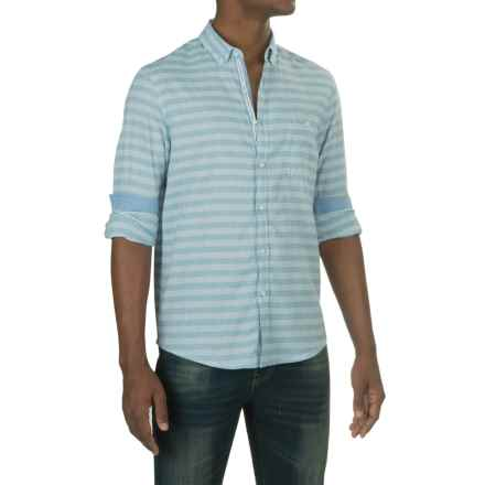 Report Collection Horizontal Stripe Sport Shirt - Cotton-Linen, Long Sleeve (For Men) in Light Blue - Closeouts