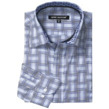 Report Collection Multi-Dimensional Gingham Shirt - Long Sleeve (For Men) in Royal Blue - Closeouts