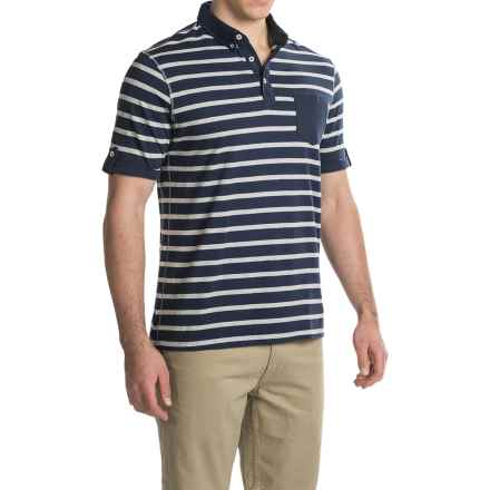 Report Collection Nep Yarn Stripe Polo Shirt - Short Sleeve (For Men) in Navy - Closeouts