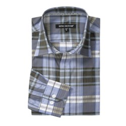 Report Collection Plaid Sport Shirt - Cotton, Long Sleeve (For Men) in Taupe