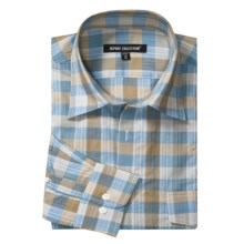 Report Collection Plaid Sport Shirt - Roll-Up Sleeve (For Men) in Light Blue - Closeouts