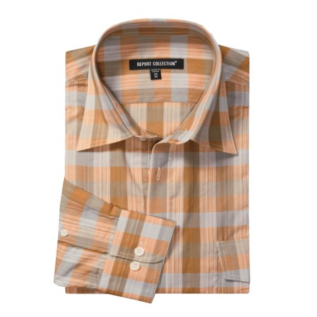 Report Collection Plaid Sport Shirt - Roll-Up Sleeve (For Men) in Tangerine
