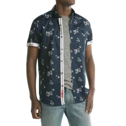 Report Collection Reverse Floral Print Sport Shirt - Short Sleeve (For Men) in Navy - Closeouts