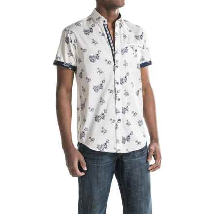 Report Collection Reverse Floral Print Sport Shirt - Short Sleeve (For Men) in White - Closeouts