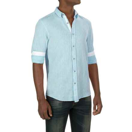 Report Collection Textured Dobby Shirt - Linen-Cotton, Long Sleeve (For Men) in Aqua - Closeouts