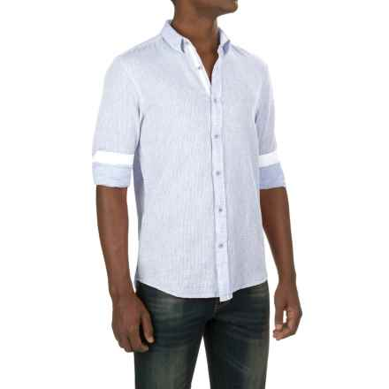 Report Collection Textured Dobby Shirt - Linen-Cotton, Long Sleeve (For Men) in Blue - Closeouts