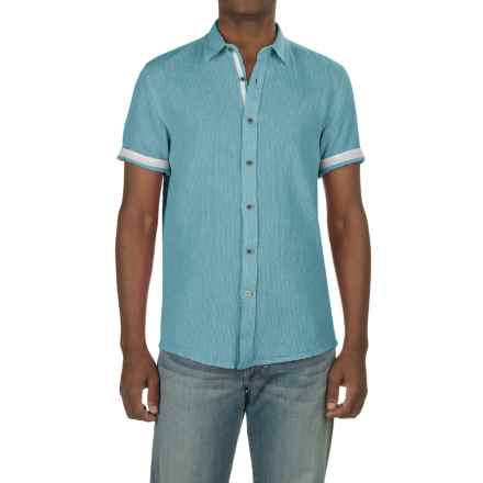 Report Collection Textured Dobby Shirt - Linen-Cotton, Short Sleeve (For Men) in Aqua - Closeouts