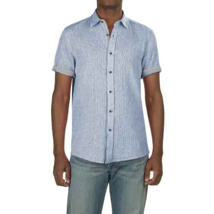Report Collection Textured Dobby Shirt - Linen-Cotton, Short Sleeve (For Men) in Blue - Closeouts