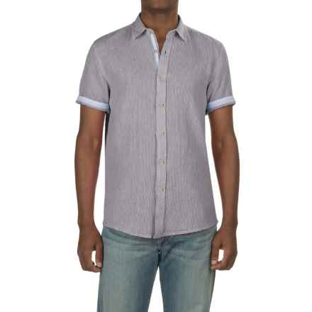 Report Collection Textured Dobby Shirt - Linen-Cotton, Short Sleeve (For Men) in Light Grey - Closeouts