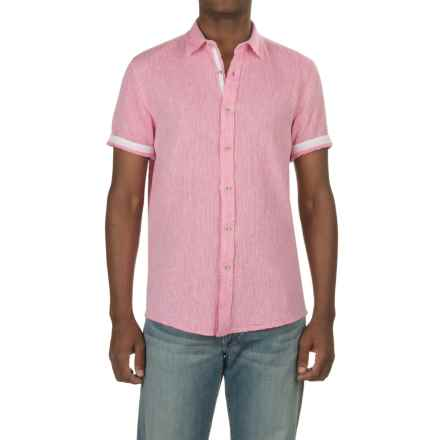 Report Collection Textured Dobby Shirt - Linen-Cotton, Short Sleeve (For Men) in Pink - Closeouts
