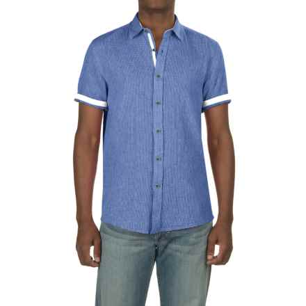 Report Collection Textured Dobby Shirt - Linen-Cotton, Short Sleeve (For Men) in Royal - Closeouts