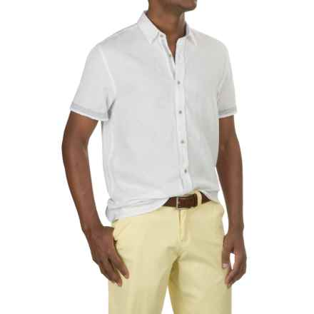 Report Collection Textured Dobby Shirt - Linen-Cotton, Short Sleeve (For Men) in White - Closeouts