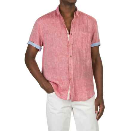 Report Collection Yarn-Dyed Linen Shirt - Short Sleeve (For Men) in Cherry - Closeouts