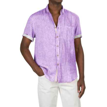 Report Collection Yarn-Dyed Linen Shirt - Short Sleeve (For Men) in Lavender - Closeouts