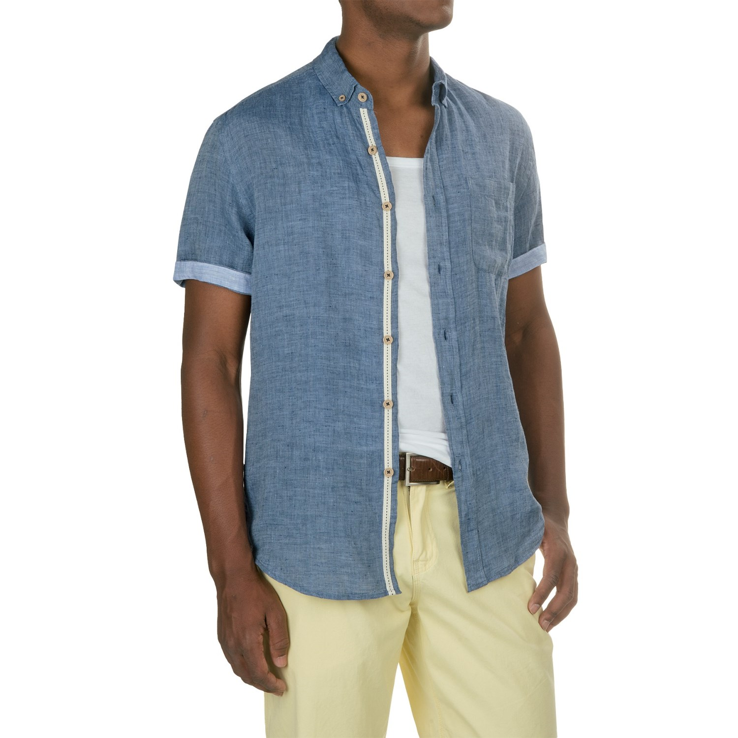 Report collection yarn dyed linen shirt for men save 70 for Short sleeve linen shirt