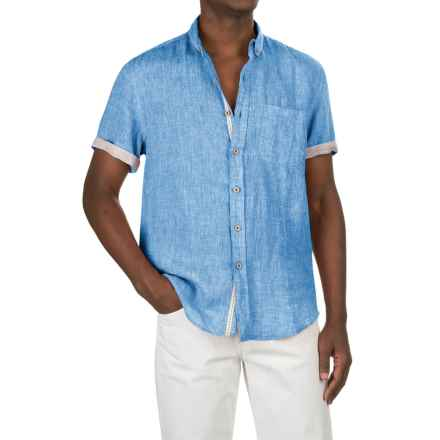 Report Collection Yarn-Dyed Linen Shirt - Short Sleeve (For Men) in Turquoise - Closeouts
