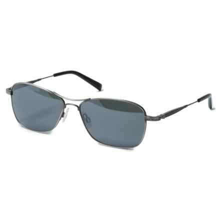 Reptile Sun Rabida Square Aviator Sunglasses - Polarized in Antique Silver/Titanium Black - Closeouts