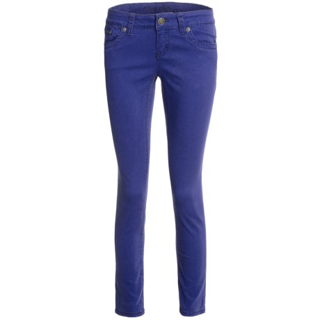 Request Jeans Cigarette Skinny Jeans - Stretch Twill, Low Rise (For Women) in Aubergine