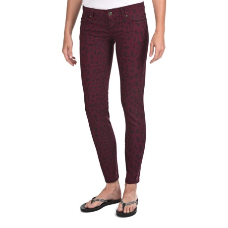 Request Jeans Leopard Print Skinny Jeans - Low Rise (For Women) in Burgandy