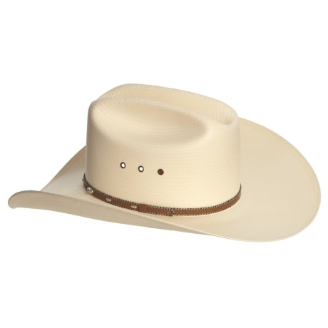 Resistol Cattleman Long Oval Cowboy Hat - Shantung Straw (For Men and Women) in Natural