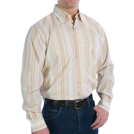Resistol Ranch Stripe Shirt - Long Sleeve (For Men) in White/Tan