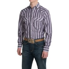 Resistol University Printed Western Shirt - Snap Front, Long Sleeve (For Men) in Black/Purple Stripe - Closeouts