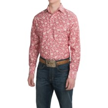 Resistol University Printed Western Shirt - Snap Front, Long Sleeve (For Men) in Pink Print - Closeouts
