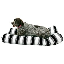 "Restless Tails Striped Indoor/Outdoor Dog Bed - 42x24"" in Black - Closeouts"