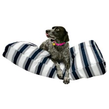 """Restless Tails Striped Indoor/Outdoor Dog Bed - 42x24"""" in Navy - Closeouts"""