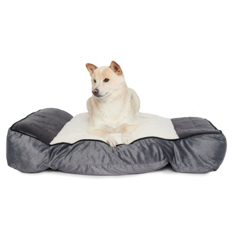 "Restology Orthopedic Memory-Foam Sherpa Pillow Rectangular Dog Bed - 36x24"" in Grey"