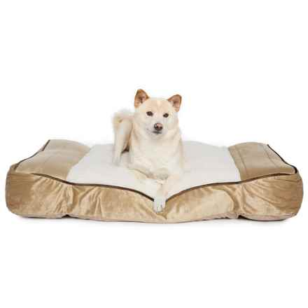 "Restology Orthopedic Memory-Foam Sherpa Pillow Rectangular Dog Bed - 40x26"" in Camel - Closeouts"
