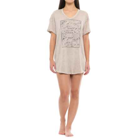 Retrospective What's Your Sign Sleep Shirt - V-Neck, Short Sleeve (For Women) in Light Grey - Closeouts