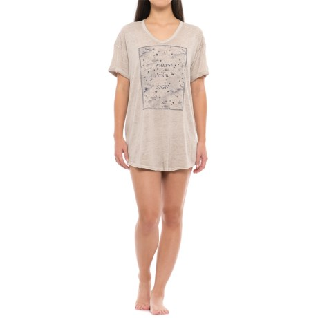 Retrospective What's Your Sign Sleep Shirt - V-Neck, Short Sleeve (For Women) in Light Grey