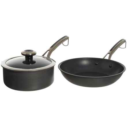 "Revere Ware Hard-Anodized Aluminum Nonstick Frying Pan and Sauce Pot with Lid - 10"", 2 qt. in Black - Closeouts"