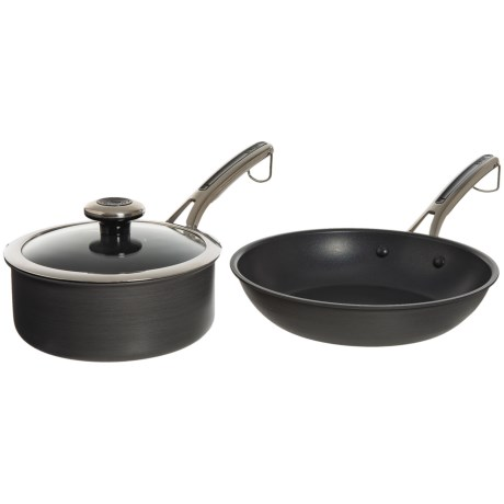 """Revere Ware Hard-Anodized Aluminum Nonstick Frying Pan and Sauce Pot with Lid - 10"""", 2 qt. in Black"""