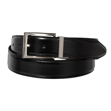 Reversible Smooth Leather Dress Belt with Metal Buckle (For Men)