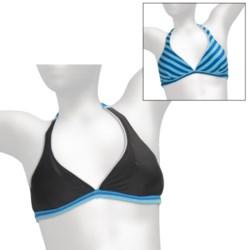 Reversible Tie Halter Bikini Top (For Women) in Blue Stripe R/Black/White