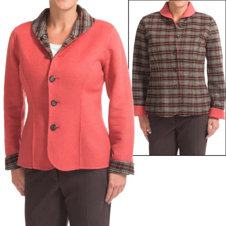 Reversible Wool Blend Plaid Jacket (For Women)
