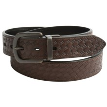 Reward Basket-Weave Leather Belt (For Men) in Brown/Black - Closeouts