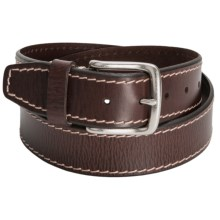Reward Contrast Edge Stitch Leather Belt - Antique Buckle (For Men) in Brown - Closeouts