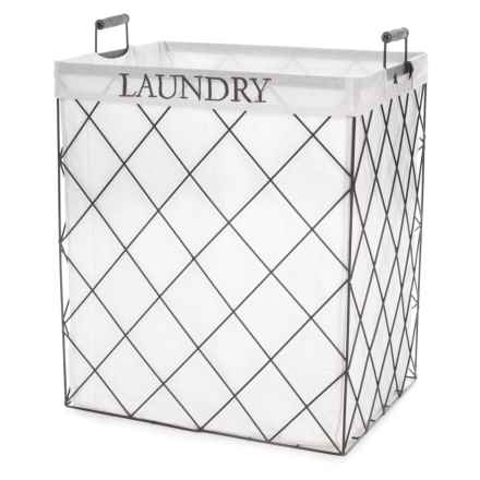 """RGI Industrial Metal Hamper - 25x20x15"""", Large in Antique Grey/White - Closeouts"""