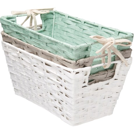 RGI Woven Storage Bins   Set Of 3, 12u201d In Blue Haze/Warm