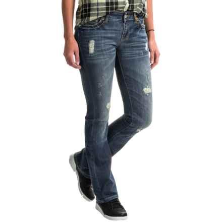 Rhinestone Rivet Jeans - Slim Fit (For Women) in Blondie Vintage - 2nds