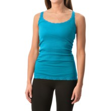 Rib-Knit Lace-Trim Tank Top (For Women) in Blue - 2nds