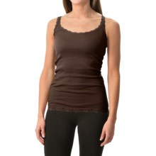Rib-Knit Lace-Trim Tank Top (For Women) in Brown - 2nds