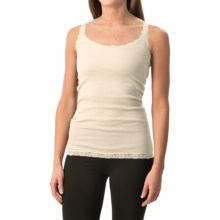 Rib-Knit Lace-Trim Tank Top (For Women) in Cream - 2nds