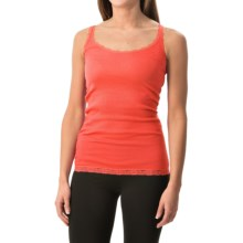Rib-Knit Lace-Trim Tank Top (For Women) in Light Orange - 2nds