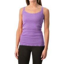 Rib-Knit Lace-Trim Tank Top (For Women) in Lilac - 2nds